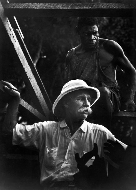 Albert Schweitzer supervises the building of a hospital in Gabon, West Africa, 1954