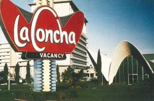 La Concha neon sign, Flamingo Hotel in background, 1970s