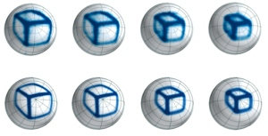 Images of a box captured at four different distances from the camera (top row), compared with a computer simulation of the camera's performance (bottom row).