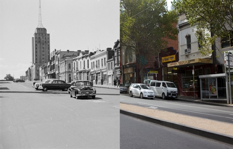 Russell Street looking north toward Police Headquarters  1960s, and at right, 2013